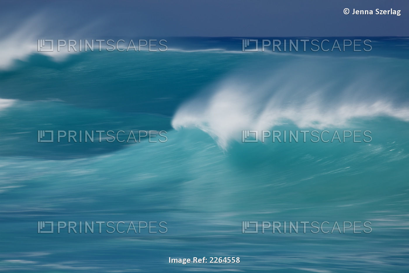 Hawaii, Maui, A Blurred Image Of A Soft Wave Breaking.
